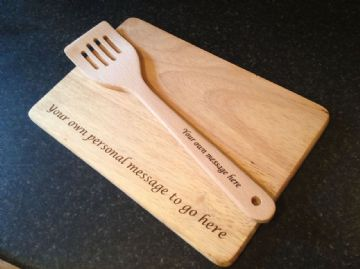 Personalised Engraved Wooden Spatula and Chopping Board